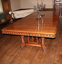 A late 19th Century Gothic Revival walnut dining table of impressive proportions
