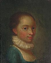 18th Century French School, oil on canvas mounted on panel portrait of a young girl wearing a ruff collar framed.