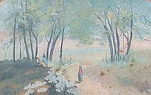Attributed to Jean - Baptiste Camille Corot (French, 1796 - 1875) 'Environs de Villeneuve' gouache on paper depicting figures amongst a tree lined path, signed lower left (15cm x 23cm) mounted, glazed and framed