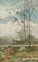 Attributed to Jean - Baptiste Camille Corot (French, 1796 - 1875) 'Environs de Segre' gouache on paper depicting a tree lined path, unsigned, (25cm x 15cm) mounted, glazed and framed
