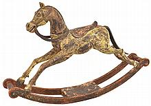 A Southern European Antique Carved And Polychrome Painted Hardwood Rocking Horse