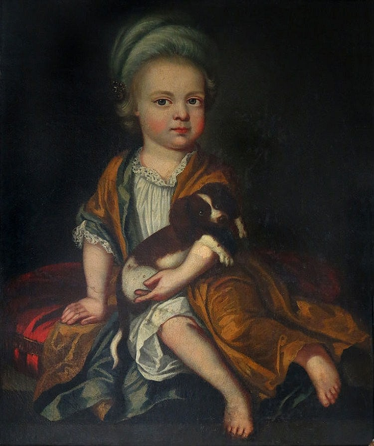 BRITISH SCHOOL, 18th c. child seated on red