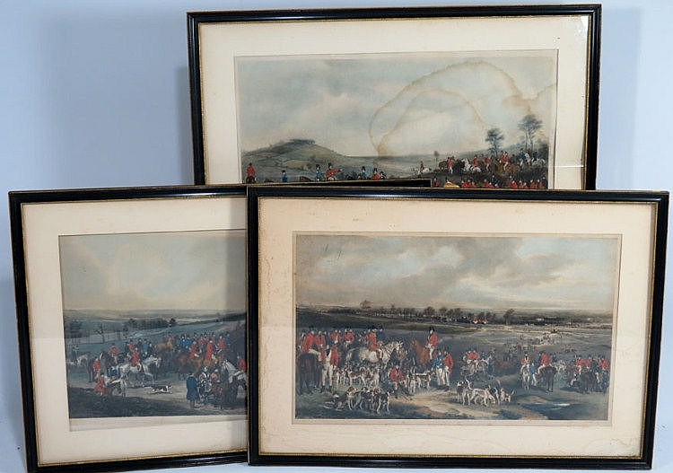 (on 3) ENGLISH FOX HUNT COLORED ENGRAVINGS all