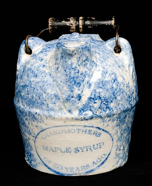 F.H. WEEKS / AKRON OHIO Spongeware Maple Syrup Jug
