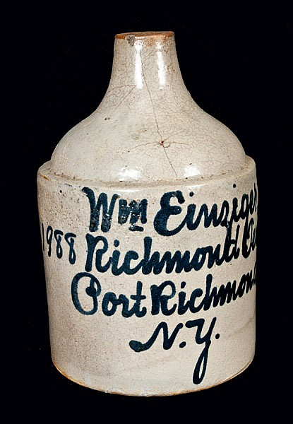 Rare Port Richmond, NY Stoneware Script Jug att. Fulper Bros., Flemington, NJ