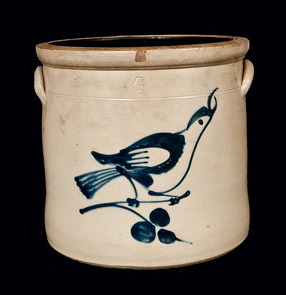 4 Gal. Fulper Bros, Flemington, NJ, Stoneware Crock with Bird Decoration