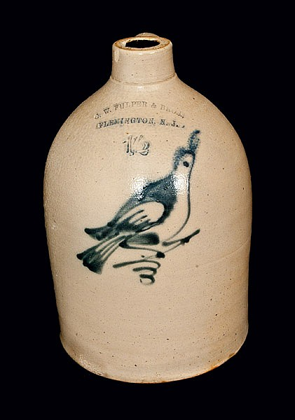 G. W. FULPER & BROS / FLEMINGTON, NJ Stoneware Jug with Bird Decoration