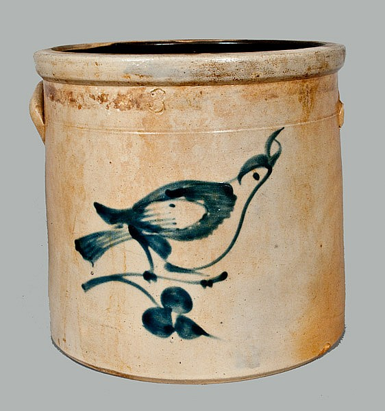 Stoneware Crock with Bird Decoration attrib. Fulper Bros., Flemington, NJ