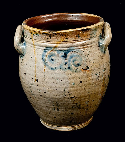 Early Stoneware Jar w/ Watchspring Decoration, Cheesequake, NJ or Manhattan, NY, 18th century