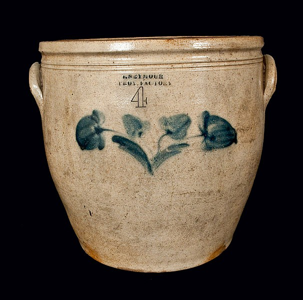 I. SEYMOUR / TROY FACTORY Stoneware Crock with Floral Decoration