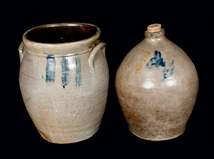 Lot of Two: Ovoid Stoneware Jug and Ovoid Stoneware Crock