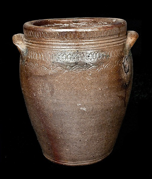 1 Gal. South Amboy, NJ Stoneware Jar with Profuse Coggled Design, circa 1810