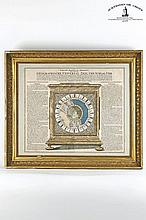 Copper engraving of the operating instructions for the important world clock by master clockmaker Zacharias Landteck of Nuremberg; created according to the design of Johann Babtistae Homann in 1705. Sheet under glass, lavishly ornamented frame, 490 x