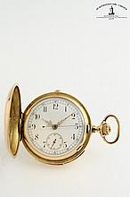 A collection of 2 gold hunting case pocket watches with repeater and chronograph