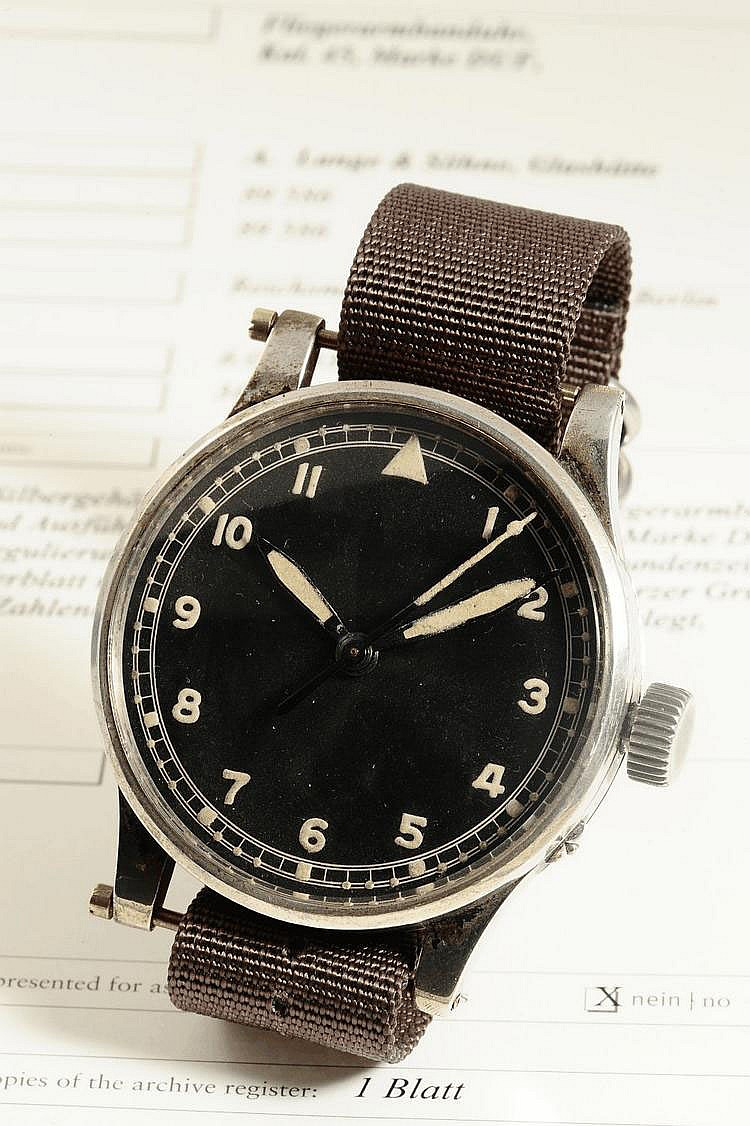 A. Lange & Söhne, Deutsche Uhrenfabrikation Glashütte B/Dresden, Movement No. 89586, Case No. 89586, Cal. 45, 55 mm, circa 1938