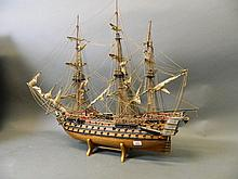 A scratch built model of H.M.S. Victory, on a
