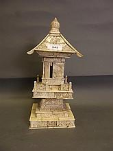 A C19th Oriental carved bone pagoda shrine, 12½