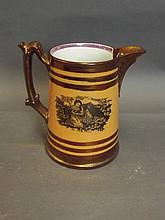 A C19th copper lustre jug with brown ground and