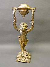 A large C19th gilt brass gimbal mounted ship's oil