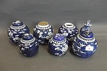 Six Chinese blue and white ginger jars, and a blue