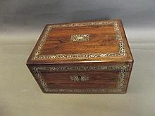 A C19th rosewood work box with Mother of Pearl