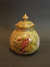 A C19th Royal Worcester pot pourri painted with