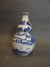 A C19th Chinese blue and white double gourd vase