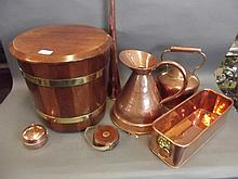 A quantity of antique copper, brass bound coal