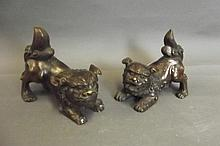 A pair of Chinese bronze kylin, 5½