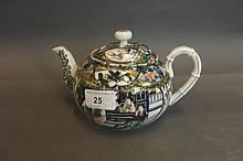 A C19th Chinese famille verte teapot painted with