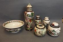 A quantity of Oriental crackleware glazed pottery