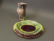 A Majolica jug in the form of an owl, and a