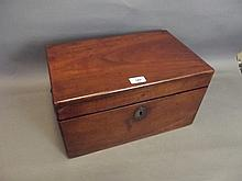 A Victorian mahogany strongbox with a fitted