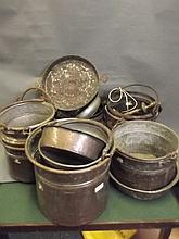 A quantity of antique Eastern metal pans etc