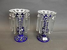 A pair of Bohemian overlaid blue glass table