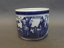 A Chinese blue and white pottery jardinière with