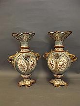 A large pair of twin handled Art Pottery vases