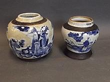 A Chinese blue and white crackleware jar with