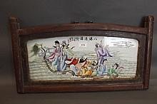 A Chinese enamelled porcelain plaque of eight
