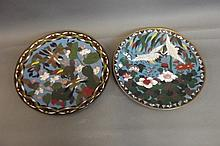 A pair of C19th cloisonné dishes depicting birds