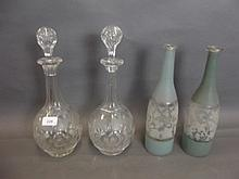 A good pair of Victorian cut glass decanters