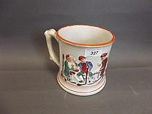 A C19th Staffordshire pottery frog mug, 5½