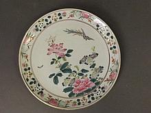A Chinese porcelain plate with polychrome enamel