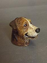 A cold painted bronze vesta in the form of a dog's