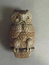 A cold painted bronze vesta in the form of an owl,