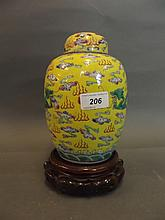 An early C20th Chinese yellow ground pottery jar