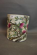 A large Chinese porcelain brushpot with enamelled