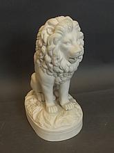 A Parian figure of a seated lion, 10½