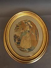 A good C19th oval silk embroidery in a gilt frame,