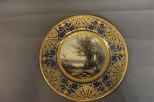 A blue ground Royal Worcester cabinet plate